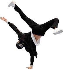 Ein jugendlicher Mann, der Breakdance tanzt